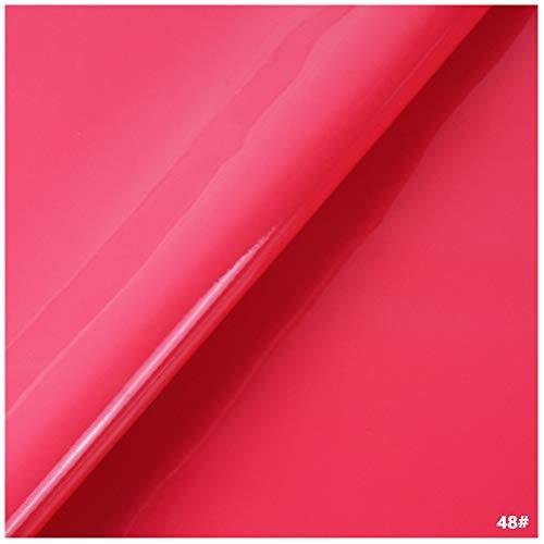 Tela de Cuero Sintético de PVC, Tapicería de Cuero Sintético para Decoración de Interiores de Automóviles Bolsa de Renovación de Sofás Regalos - Material de Charol (Rosa roja)(Size:1.38x1m)