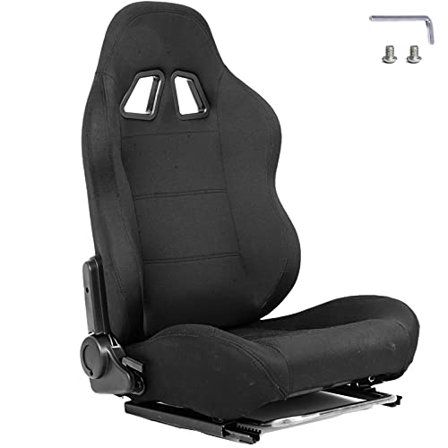 Hottoby Racing Gaming Bucket Seat With Adjustable Double Slide Adapt Racing Simulator Cockpit Wheel Stand Chair Ergonomic Video Game Chairs-Black