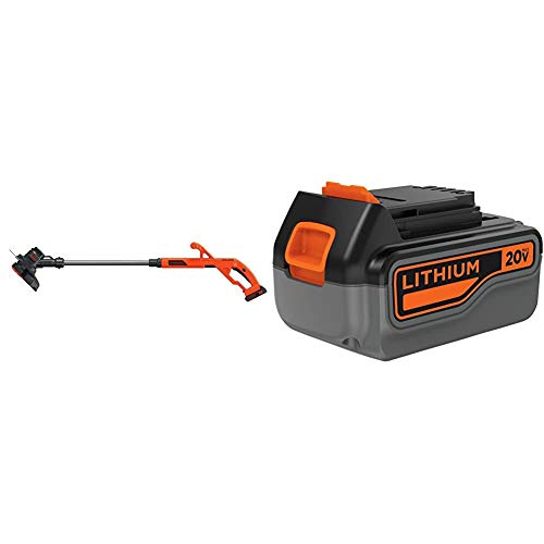 BLACK+DECKER 20V MAX String Trimmer/Edger Kit, 10-Inch with Extra 4-Ah Lithium Ion Battery Pack (LST201 & LB2X4020)