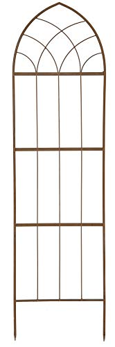 Ruddings Wood Extra Large 200cm Gothic Garden Plant Support Trellis Rust Effect - Climbing Flower Wall Frame Panel
