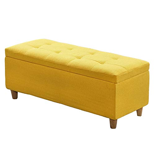 JQQJ opbergruimte bankkruk stoffen geheugen-schemel sofa-kruk speelgoeddoos opslag Osmanen bank flipping deksel klein voetbord 80x40x40cm geel