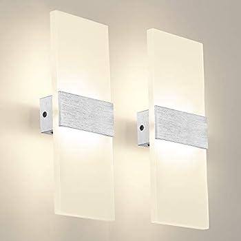 2-Pack Eurus Home 12W LED Acrylic Wall Lamp