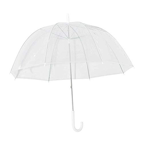 suoryisrty Moda Transparente Burbuja Transparente Cúpula en Forma de Paraguas Paraguas Exterior a Prueba de Viento Princesa Decoración de Boda Plástico Transparente