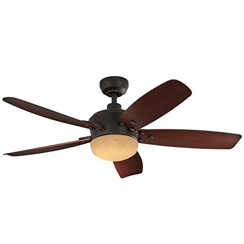Harbor Breeze Saratoga 48-in Oil Rubbed Bronze LED Indoor/Outdoor Downrod Mount Ceiling Fan with Light Kit and Remote