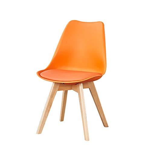 ADGEAAB Sillas de comedor modernas de piel sintética con respaldo acolchado suave, para café, ocio, negociación, hogar, sala de estar, silla de oficina, sillas de comedor (color naranja)