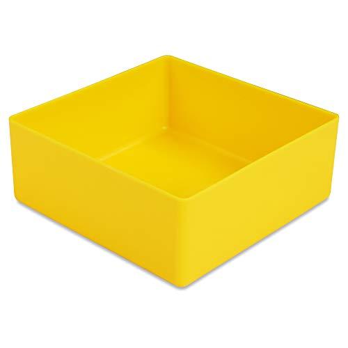 1a-TopStore 10 STK. Einsatzkästen Einsatzboxen Schubladen-Einsatzkasten Sortierboxen, 32 Größen, 5 Farben (gelb, 99x99x40 mm)