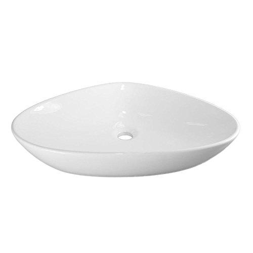 NEG Waschbecken Uno75A (dreieckig) Aufsatz-Waschschale/Waschtisch (weiß) mit flachem Rand und Nano-Beschichtung