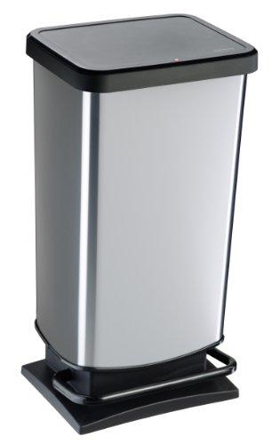 """Rotho Mülleimer """"Paso"""" 40 Liter│ geruchsdichter Abfalleimer - 35.3x29.5x67.6cm│ Papierkorb aus Kunststoff (PP) in Edelstahl-Optik │ Tretmechanismus zum Öffnen des Abfallbehälters"""