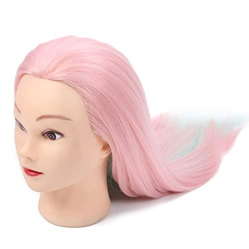 Cabeza de maniquí para peinar el cabello, duradera de usar, buena sensación de manos, cabeza de maniquí trenzada, fácil peinado para estilista de peluquero(Light red)
