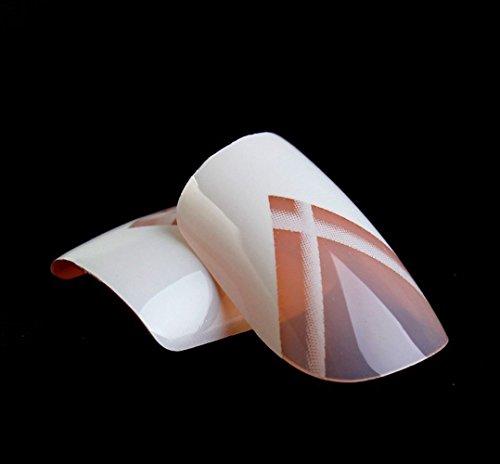Art bling faux ongles French Manucure Blanc Lignes 24 Conseils moyen UK