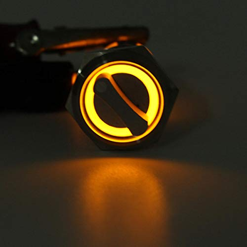 RENCALO Selettore da 19 mm a 2 Posizioni in Acciaio Inox Impermeabile con Interruttore a Scatto in Metallo-Giallo
