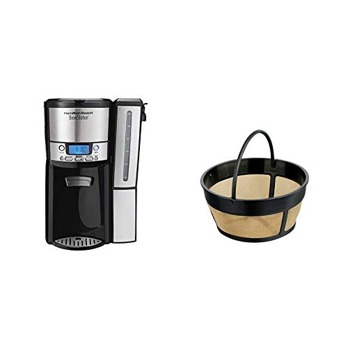 Hamilton Beach (47950) Coffee Maker with 12 Cup Capacity & Internal Storage Coffee Pot, Brewstation, Black/Stainless Steel & Hamilton Beach Permanent Gold Tone Filter, (80675R/80675)