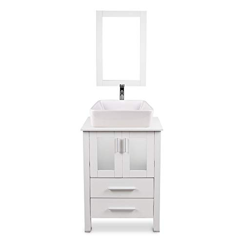 24 Inch White Bathroom Vanity and Sink Combo Stand Cabinet with Mirror, Water Saving 1.5 GPM Faucet Hole and Pop Up Drain MDF Bathroom Cabinet with Storage Drawer… (White Vanity+ Ceramic Sink)