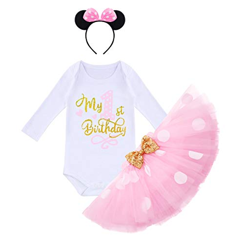 Winter 1st Birthday Outfit Girl My First Birthday Girls Mini Cake Smash Outfit Infant Girl Romper Polka Dots Tutu Dress Skirt Bow Headband Mouse Party Supplies 1st Birthday 1 Year Old Photo Shoot Pink