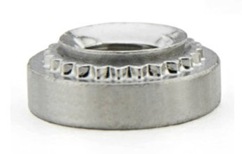 S-832-1ZI-JR SELF-CLINCHING PEM NUT, Thread: .164-32 (#8-32), Heat Treated Carbon Steel, Zinc Plated, RoHS (Quantity 100) Hole Size in Sheet .213 Inches. Diameter .310 inches