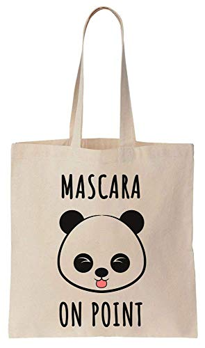 Finest Prints Mascara On Point Cute Panda Cotton Canvas Tote Bag