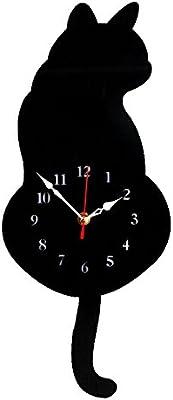 FORUSKY Acrylic Creative DIY Cat Swinging Tail Silent Quartz Wall Hanging Clock for Living Room Bedroom Kitchen Home Decor - Black