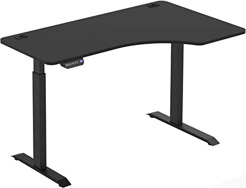 SHW 55-Inch Large Electric Height Adjustable L-Shaped Standing Desk, Black