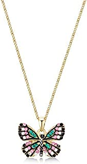 Mestige Women's Golden Butterfly Effect Necklace with Swarovski Crystals - MSNE3819