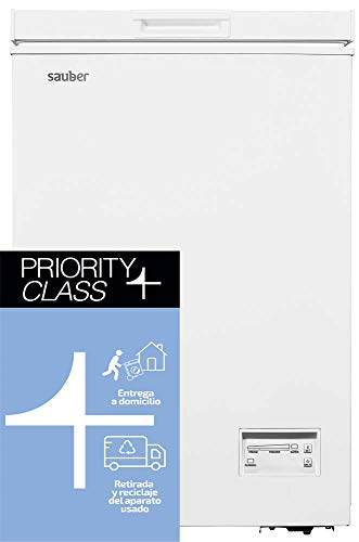 Sauber - Congelador Horizontal SERIE 5-100H - Eficiencia energética: A+ - Ancho: 54,5 cm - 100 litros - Color Blanco