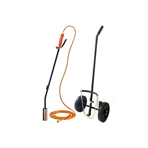 Kit Desherbeur gaz brule herbe Tuyau 5 m + Chariot trolley roues pleines Allumage piezo