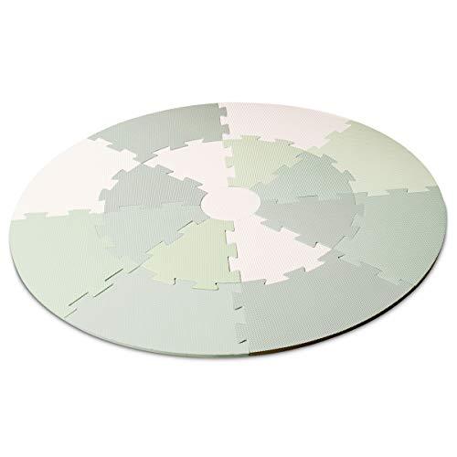 Lalaloom GREEN PLAYMAT - Alfombra infantil para juego (alfombra puzzle para bebe, redonda, con suelo, de espuma EVA para habitación), 120x120x1 cm, color Verde