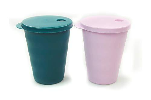 Tupperware Junge Welle Trinkhalmbecher 330 ml türkisgrün+rosa Trinkhalm Becher