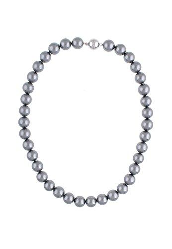 Leslii graue Damen-kette Perlen-Collier echte Muschelkern-Perlen graue Perlen-Kette kurze Halskette Modeschmuck-Kette 44cm Grau Magnet-verschluss