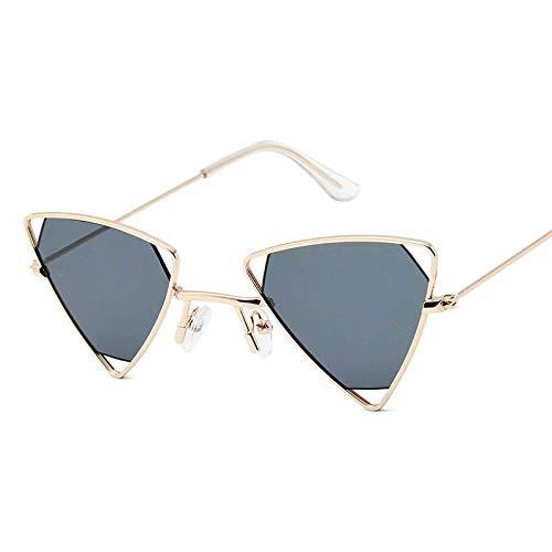 DLSM Gafas de Sol de triángulo Hueco de aleación Retro Hombres Punk Eyewear Candy Colors PRIGUDENTES Vintage Gafas de Sol góticas para Las Mujeres-Gris Dorado