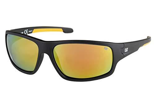 Caterpillar Men's Cupola Polarized Sunglasses Rectangular, Matte Black, 64 mm