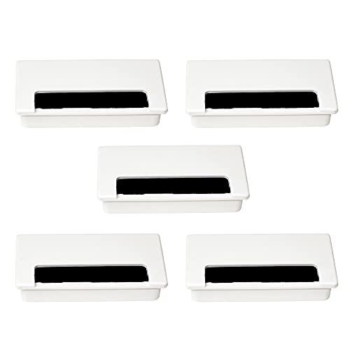 EMUCA - Tapa pasacables Rectangular 101x51mm para encastrar en Escritorio/Mesa, Organizador de Cables para Mueble, plástico Blanco, 5 uds