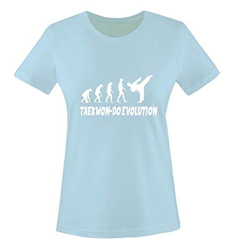 Comedy Shirts - Taekwon-DO Evolution - Damen T-Shirt - Hellblau/Weiss Gr. S