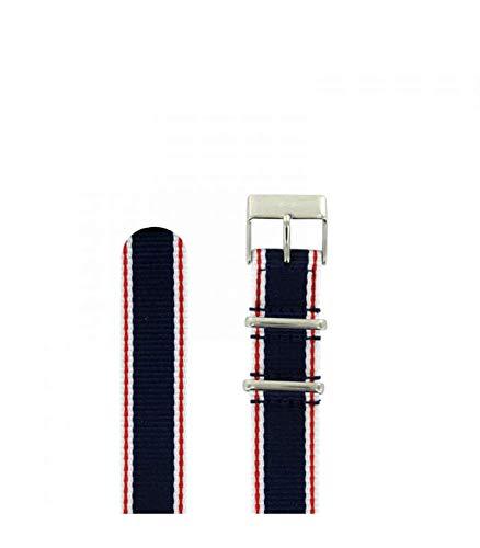 Pulsera Nato azul, blanco, rojo, 18 mm.