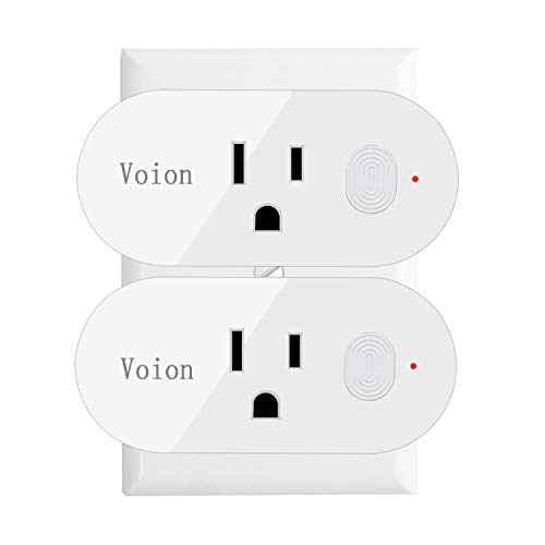 Alexa Smart Wifi Plug Mini - Voion Wifi Socket Outlet (2 Pack) with Energy Monitoring, Compatible with Alexa, Google Assistant and IFTTT, Control Your Lights, Appliances From Your Phone