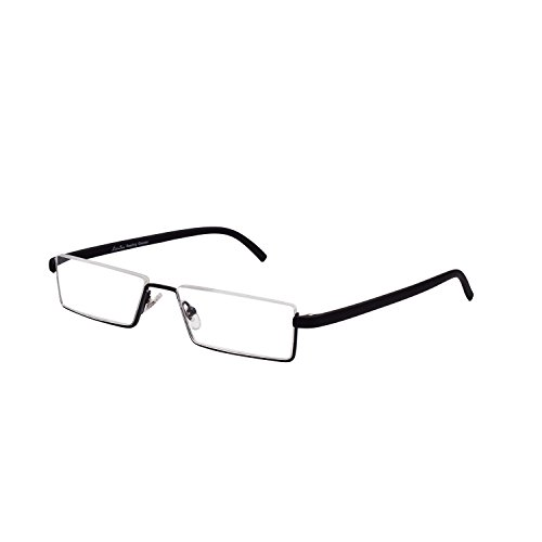 Lettori di occhiali da lettura stile semicerchio con struttura in metallo di marca LianSan con custodia