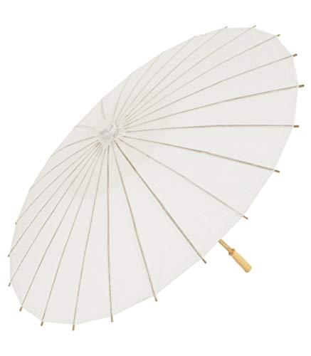 TradeShopTraesio' - Ombrello Bianco Legno Accessori Sposa Wedding Matrimonio Decorazioni Parasole