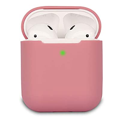 Airpods Case Cover Compatible with AirPods 2, KOKOKA Silicone Shockproof Airpods Case Cover Front LED Visible Support Wireless Charging, Bean Pink by Kokoka