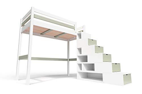 ABC MEUBLES - Hochbett Sylvia mit Treppenregal Holz - Cube - Weiß/Mokka, 90x200