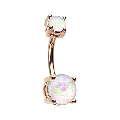 Rose Gold Opal Sparkle Belly Button Ring