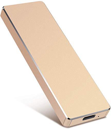 Hard disk esterno portatile da 2 TB – Hard disk esterno ultra sottile USB 3.1 per PC, Mac, computer portatile, computer desktop (2TB, Gold-A)