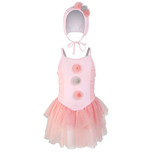 Sinedoly Children's Swimsuit and Girl'S Swimming Cap Sweetness and Loveliness Adjustable Princess Skirt and Sling