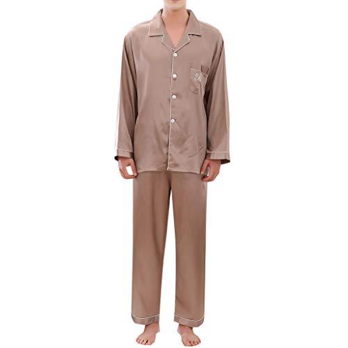 MRULIC Valentinstag Schlafanzug Sets Herren Pyjamas Sets Lässige Frühling Einfarbig Lange Ärmel Komfortable Heim Nachtwäsche Nachthemd(Khaki,EU-M/CN-L)