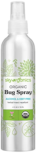 Sky Organics Organic Bug Spray (4 oz) USDA Organic Bug Repellent – DEET-Free Natural Safe Insect Repellent Vegan & Cruelty-Free