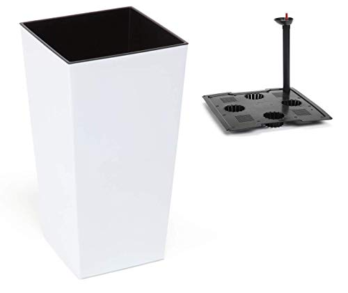 MELTOM XL Pflanzkübel mit Bewässerungssystem aus Kunststoff in Hochglanz Farbe: Weiß mit Herausnehmbaren Einsatz, BxTxH in cm: 30 x 30 x 57 cm