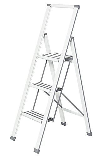 Wenko Escalera Plegable con 3peldaños, Aluminio, Color Blanco Gris, 44x 127x 5,5cm, 601016100