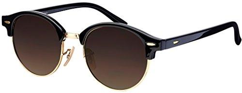 Sonnenbrille Halbrahmen La Optica UV 400 Unisex Damen Herren Rund Round - Vintage Retro Schwarz Gold (Gläser: Braun Verlaufstönung)