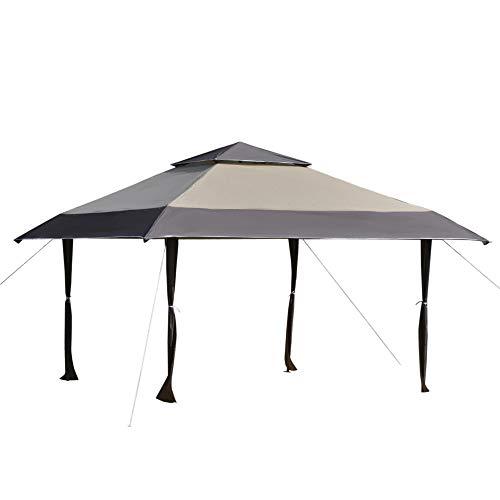 Outsunny Cenador Plegable 4x4 m Carpa de jardín con Doble Techo Altura Ajustable con Bolsa de Transporte de Acero Tela Oxford Protección UV para Fiestas Bodas Caqui y Café