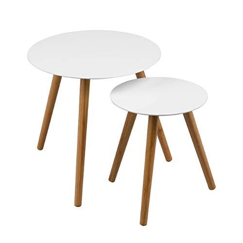 Premier Housewares 2403413 Nostra Tisch-Set, ineinanderschiebbar, Beine aus Holz, lackiert, Weiß, 2-teiliges Set