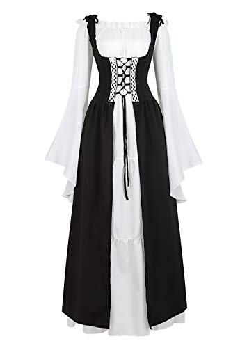 Womens Renaissance Dress Up Costume Medieval Irish Over Dress and Chemise Boho Set Gothic Gown Dress Black-2XL
