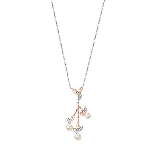 Morellato Collana da donna, Collezione Gioia, in acciaio, PVD oro rosa, perle coltivate e cristalli - SAER11